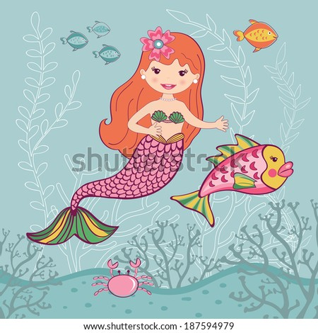 Little mermaid and big fish underwater - stock vector