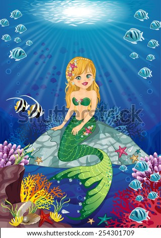 Little mermaid sitting on the ocean floor-Editable-various level-Transparency blending effects and gradient mesh-EPS 10 - stock vector
