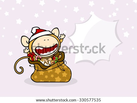 Little Monkey in Santa's sack - stock vector