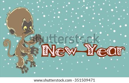 Little monkey New Year blue,snow - stock vector