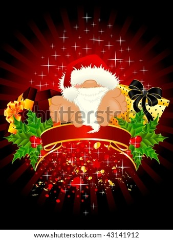 little nice santa Claus in a red cap with a gift - stock vector