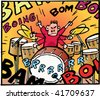 Little noisy drummer boy - stock vector
