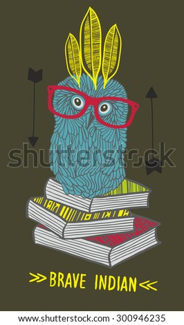 Little owl indian on the books. Vector illustration. - stock vector