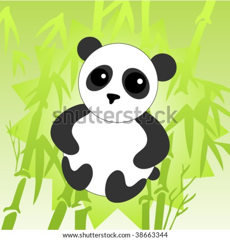 little panda in bamboo forest - stock vector