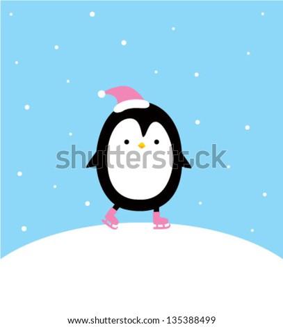 little penguin in the winter christmas - stock vector