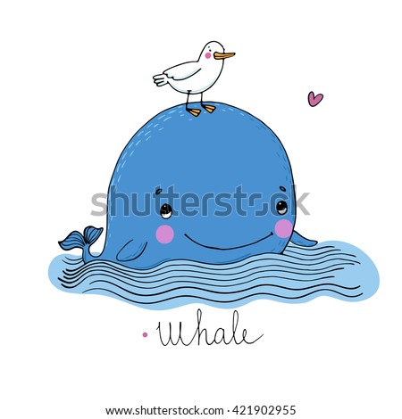 Little pretty whale and seagull. Hand drawing isolated objects on white background. Vector illustration.