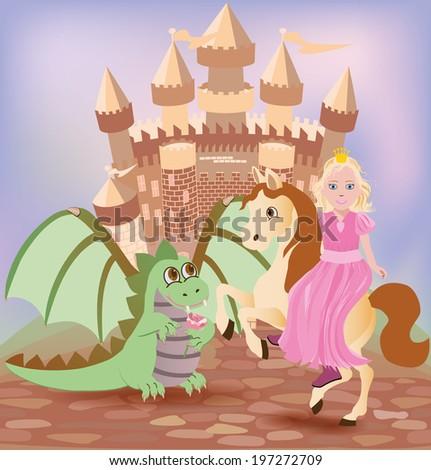 Little princess and cute dragon, vector illustration - stock vector