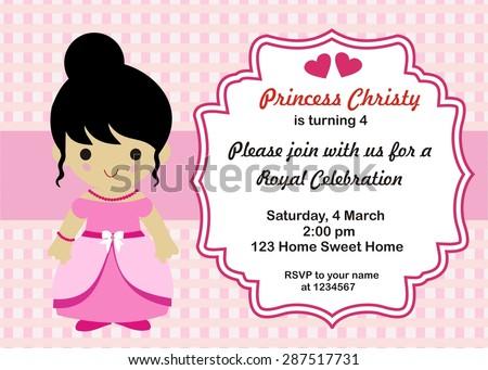 Little Princess Birthday Invitation Vector Stock Vector - Birthday invitation princess