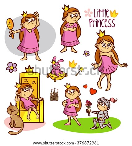 Little princess collection, fairy tale - stock vector