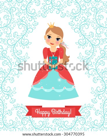 Little Princess. Happy Birthday vector greeting card with cute floral frame and ribbon for your text - stock vector