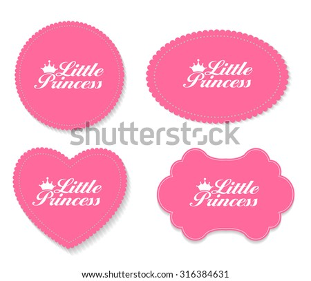 Little Princess Label Set Vector Illustration EPS10 - stock vector