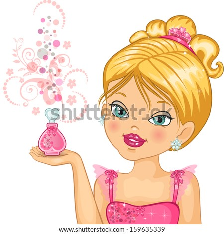 little princess who is holding a bottle of perfume-transparency blending effects and gradient mesh-EPS10 - stock vector