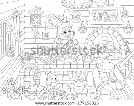 Little rabbit decorating a fancy Easter cake - stock vector