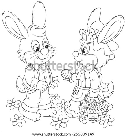 Little rabbits with a basket of Easter eggs - stock vector