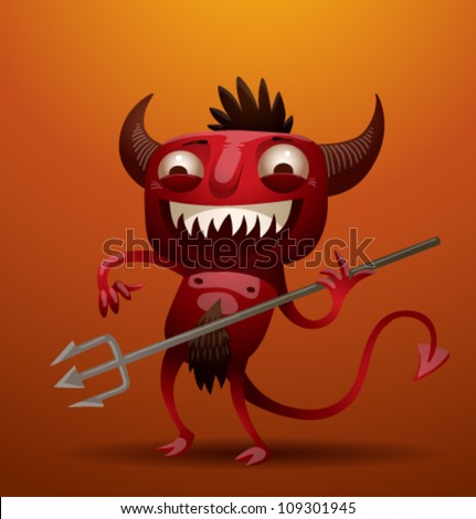 Little Red Devil, vector 02 - stock vector