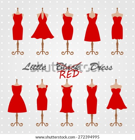 Little red dress fashion boutique. Set of ten different design of elegant and pretty cocktail and evening woman dresses on mannequin. vector art image illustration, isolated on white background - stock vector