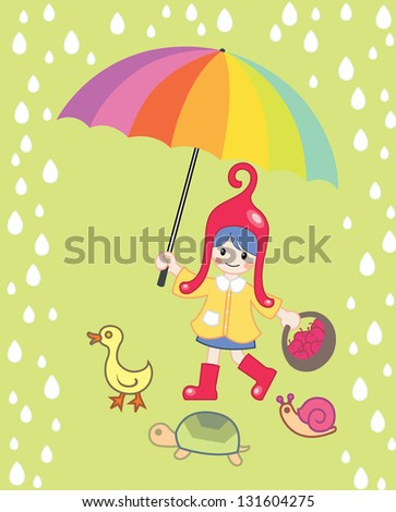 Little Red Hat - stock vector
