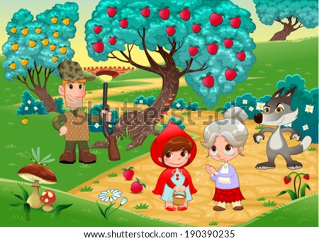 Little Red Hiding Hood scene. Funny cartoon and vector illustration. - stock vector