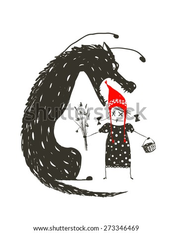 Little Red Riding Hood and Black Scary Wolf. Illustration for the fairy tale, scary wolf and a child. Sketchy artistic drawing. Vector illustration. - stock vector