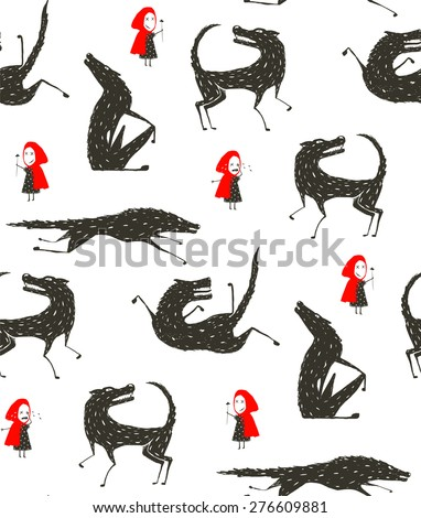 Little Red Riding Hood and Black Wolf Fairy tale Seamless Pattern. Little girl loves bad horrible wolf, black and white. Seamless background. Vector illustration. - stock vector