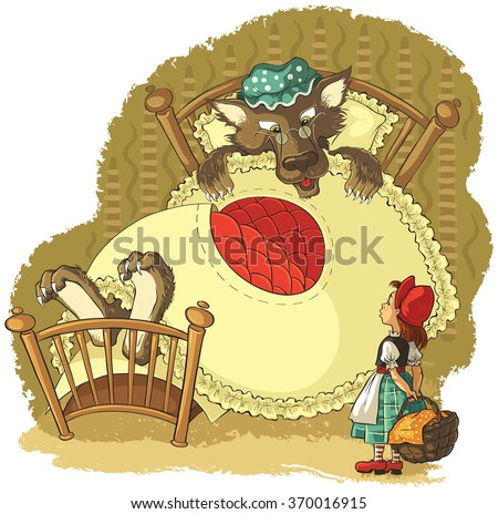 Little Red Riding Hood and Wolf. Vector cartoon fairytale illustration. Also available outlined version