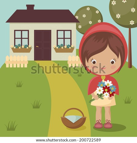 Little Red Riding Hood close to grandma's house with flowers and basket - stock vector