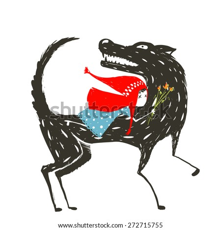 Little Red Riding Hood Fairy Tale Illustration. Red Riding Hood in blue dress on the back of a terrible wolf. Vector illustration. - stock vector