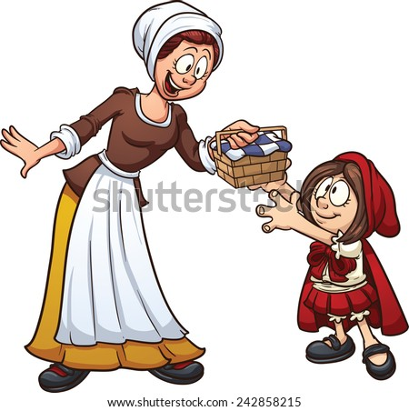 Little Red Riding hood getting a basket from her mother. Vector clip art illustration with simple gradients. Each character on a separate layer.  - stock vector