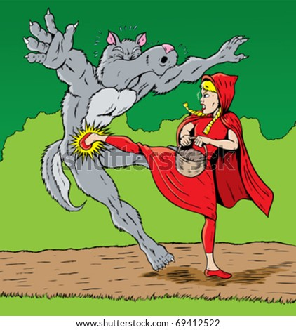 Little Red Riding Hood kicking the wolf, good for self defense. - stock vector