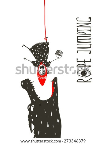 Little Red Riding Hood Rope Jumping and Wolf. Scary wolf wants to eat Little Red Riding Hood while she hangs upside down on the red rope. Sketchy artistic drawing. Vector illustration. - stock vector