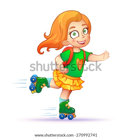 Little redhead girl on roller skates. Teen rides on roller skates and enjoy the speed and freedom. girl in dress on roller skates. isolated vector illustration - stock vector
