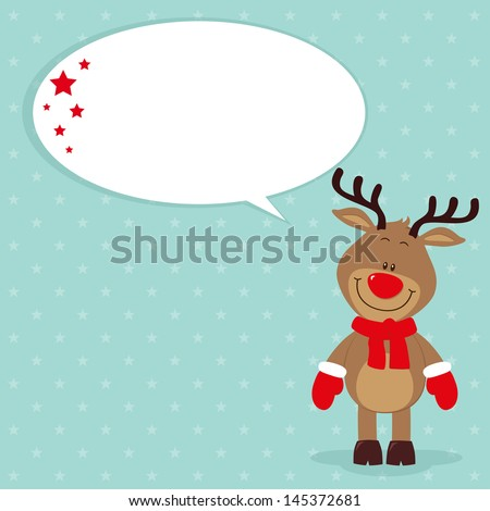 Little reindeer with speech bubble - stock vector