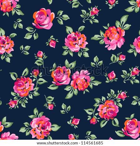 Little Rose seamless background - stock vector