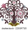 little round flower tree - stock vector