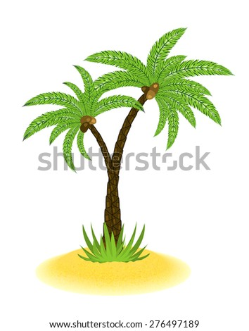 little sanding island with palm tree isolated on white