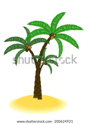 little sanding island with palms tree isolated on white - stock vector