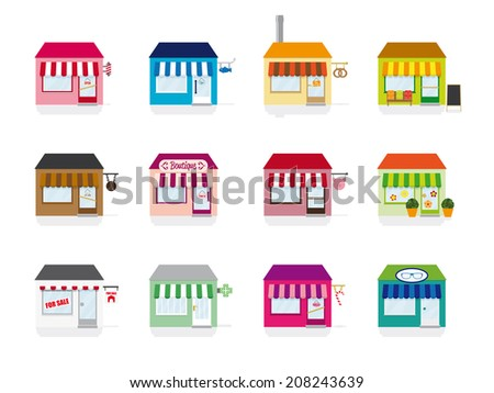 Little Shop Icons Vector Illustration. Variety of colorful icons for shops, stores and services. Flat design, no gradients - stock vector