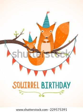 Little Squirrel and Mother Birthday Greeting Card Cartoon Illustration. Mama and child  squirrels birthday wildlife art illustration. Vector design. - stock vector