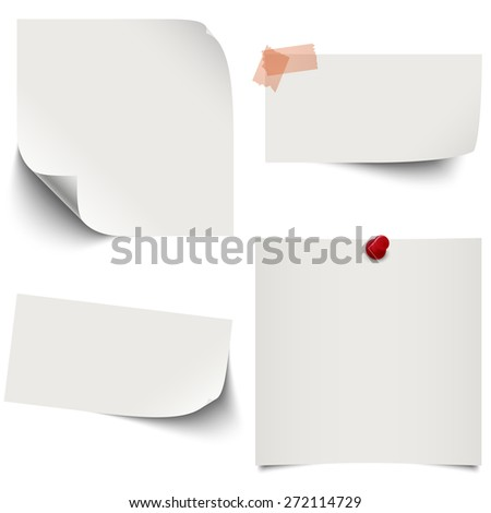little sticky paper collection with colored pin needle and adhesive tape - stock vector