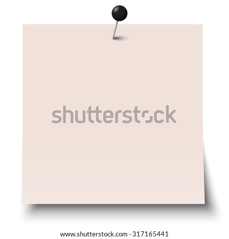 little sticky paper with colored pin needle and shadow - stock vector