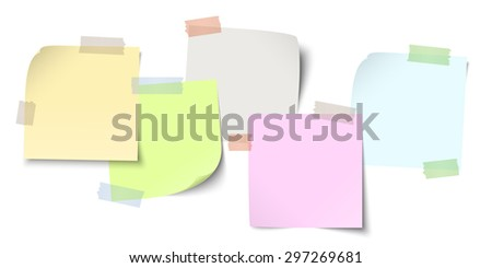 little sticky papers in a row with colored adhesive tape and free copy space