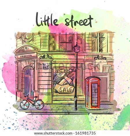 Little street. vector illustration  - stock vector