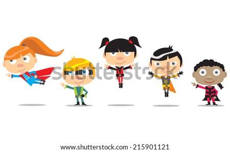 Little Superheroes - stock vector