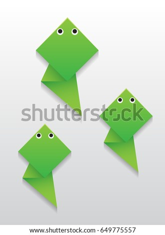 Little Tadpole Vector Origami Kids Of Frog