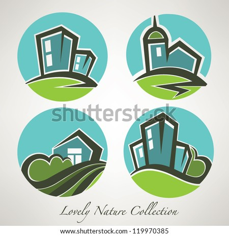 little village, vector collection of building and landscape symbols - stock vector