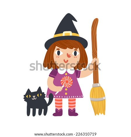 Little witch and her cat halloween cartoon characters, vector illustration  - stock vector