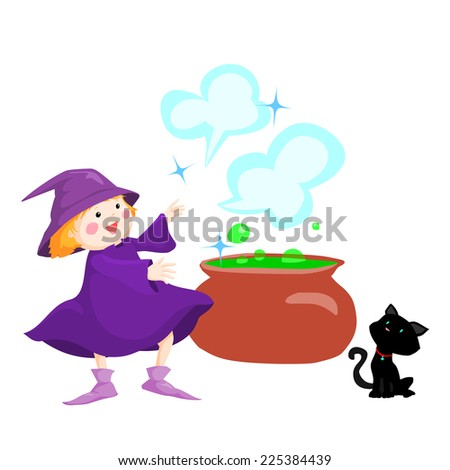 little witch create magic with black cat vector illustration