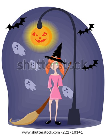 Little witch with hat with a broom under the street lamp at night