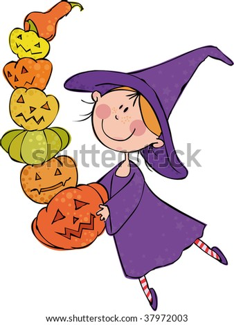 Little witch with huge pile of pumpkin