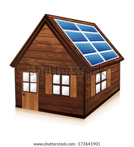 Little wooden chalet. House with solar panels. Vector illustration.  - stock vector